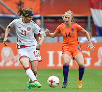 20170806 - ENSCHEDE , NETHERLANDS : Dutch Jackie Groenen (R) and danish Sofie Junge Pedersen (L)  pictured during the female soccer game between The Netherlands and Denmark  , the final at the Women's Euro 2017 , European Championship in The Netherlands 2017 , Sunday 6th of August 2017 at Grolsch Veste Stadion FC Twente in Enschede , The Netherlands PHOTO SPORTPIX.BE | DIRK VUYLSTEKE