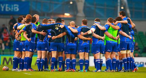 29.03.2014 Dublin, Ireland.  Leinster team huddle before the RaboDirect Pro 12 game between Leinster and Munster from Aviva Stadium.