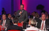 FUSSBALL      DFB POKAL FINALE       SAISON 2011/2012 Borussia Dortmund - FC Bayern Muenchen   12.05.2012 FC Bayern beim Telekom-Bankett: Vorstandsvorsitzender Karl Heinz Rummenigge (Mitte), Praesident Uli Hoeness (re) und stellvertretender Vorstandsvorsitzender Karl Hopfner (li)  nachdenklich