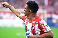 BARRANQUILLA -COLOMBIA ,30-07-2017.  Teófilo Guitérrez jugador del  Atlético Junior celebra su gol contra  el Atlético Nacional  durante encuentro  por la fecha 5 de la Liga Aguila II 2017 disputado en el estadio Metropolitano Roberto Meléndez de Barranquilla/ Teofilo Gutierrez palyer of Atletico Junior celebraes his goal against of  Atletico Nacional during match for the date 5 of the Aguila League II 2017 played at Metropolitano Roberto Melendez in Barranquilla . Photo:VizzorImage / Alfonso Cervantes  / Cont