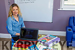 Causeway Secondary school teacher Sinead Scanlon Story doing her remote learning from home in Ballyduff on Friday.