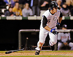 8 September 2006: Jeff Salazar, outfielder for the Colorado Rockies, in action against the Washington Nationals. The Rockies defeated the Nationals 11-8 at Coors Field in Denver, Colorado...Mandatory Photo Credit: Ed Wolfstein.
