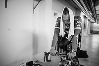 Due to the bad weather outside the planned long training ride was cut 1 hour short &amp; Jasper Stuyven (BEL/Trek-Segafredo), John Degenkolb (DEU/Trek-Segafredo) &amp; Kiel Reijnen (USA/Trek-Segafredo) decided to complete the planned hours of training on the rollers in the hotel basement<br /> <br /> Team Trek-Segafredo winter training camp <br /> <br /> january 2017, Mallorca/Spain