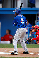 August 28, 2009:  Chris Hopkins (2) of the Auburn Doubledays during a game at Dwyer Stadium in Batavia, NY.  Auburn is the Short-Season Class-A affiliate of the Toronto Blue Jays.  Photo By Mike Janes/Four Seam Images