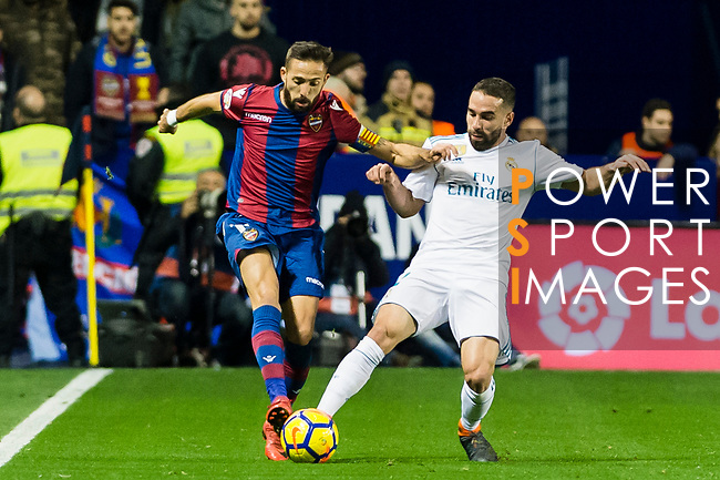 Daniel Carvajal Ramos of Real Madrid (R) fights for the ball with Jose Luis Morales Nogales of Levante UD (L)  during the La Liga 2017-18 match between Levante UD and Real Madrid at Estadio Ciutat de Valencia on 03 February 2018 in Valencia, Spain. Photo by Maria Jose Segovia Carmona / Power Sport Images