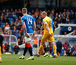 14.09.2019 Rangers v Livingston: Ryan Kent holding the back of his leg looking to the bench