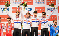 Picture by Simon Wilkinson/SWpix.com - 29/01/2017 - HSBC UK British Cycling National Track Championships. HSBC UK National Cycling Centre Manchester -  Podium<br />