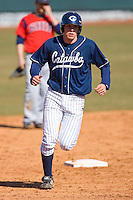 Brett Huffman #41 of the Catawba Indians rounds the bases after hitting a home run on February 14, 2010 in Salisbury, North Carolina.  Photo by Brian Westerholt / Four Seam Images