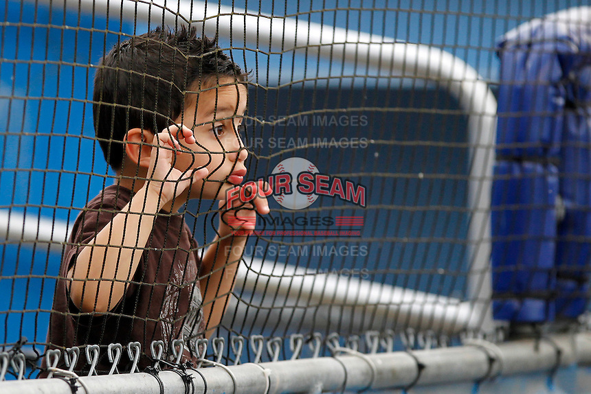 Batavia Muckdogs young fan looking through the fence before a game against the Mahoning Valley Scrappers at Dwyer Stadium on August 20, 2011 in Batavia, New York.  Batavia defeated Mahoning Valley 5-4.  (Mike Janes/Four Seam Images)