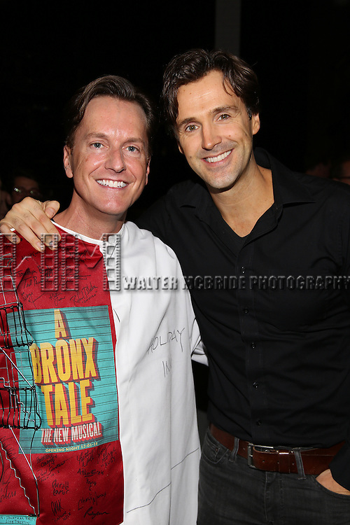 Matt Wall and Michael Xavier attend the Actors' Equity Opening Night Gypsy Robe Ceremony for 'Sunset Boulevard'  honoring Matt Wall at the Palace Theatre Theatre on February 9, 2017 in New York City.