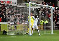 Pictured: Nathan Dyer of Swansea (R) holds his head in his hands after his shot bounced off the bar and Tottenham goalkeeper Brad Friedel (L).  Saturday 30 March 2013<br /> Re: Barclay's Premier League, Swansea City FC v Tottenham Hotspur at the Liberty Stadium, south Wales.