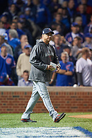 Cleveland Indians manager Terry Francona walks to the mound in the eighth inning during Game 3 of the Major League Baseball World Series against the Chicago Cubs on October 28, 2016 at Wrigley Field in Chicago, Illinois.  (Mike Janes/Four Seam Images)