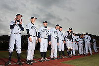 23 October 2010: Joris Bert, Luc Piquet, Kenji Hagiwara, Aaron Hornostaj, David Gauthier, Boris Marche, are seen during the players introduction prior to Savigny 8-7 win (in 12 innings) over Rouen, during game 3 of the French championship finals, in Rouen, France.