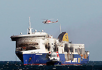 ItalyThe car ferry Norman Atlantic is seen on its way to Brindisi harbour, after a fire in waters off Greece January 2, 2015.