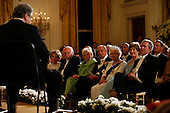 Washington, D.C. - May 7, 2007 -- Queen Elizabeth II of the United Kingdom and President George W. Bush, along with First Lady Laura Bush and Prince Philip, enjoy the music of violinist Itzhak Perlman in the East Room of the White House as part of the Queen's State Visit, in Washington, DC, May 7, 2007. Shown to the left of Prince Philip are Lynn Cheney, Vice President Dick Cheney and Nancy Reagan.<br /> Credit: Martin H. Simon - Pool via CNP