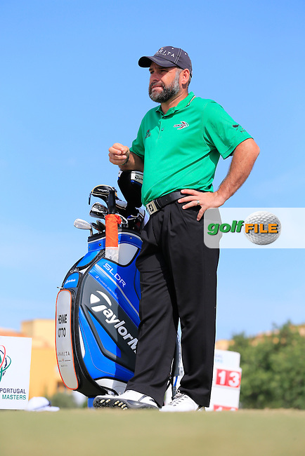 Hennie Otto (RSA) on the 1st tee to start his match during Sunday's Final Round of the 2013 Portugal Masters held at the Oceanico Victoria Golf Club. 13th October 2013.<br /> Picture: Eoin Clarke/www.golffile.ie