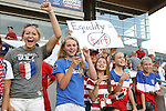 "20 August 2014: U.S. fans, including one holding up a sign reading ""Equality does not equal turf"". The United States Women's National Team played the Switzerland Women's National Team at WakeMed Stadium in Cary, North Carolina in an women's international friendly soccer game. The United States won the match 4-1."