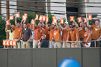 Texas Longhorn fans cheer against the Arizona State Sun Devils  in NCAA Tournament Super Regional Game #3 on June 12, 2011 at Disch Falk Field in Austin, Texas. (Photo by Andrew Woolley / Four Seam Images)