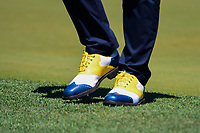 Andy Sullivan (ENG) sporting some color coordinated shoes during round 1 of the Shell Houston Open, Golf Club of Houston, Houston, Texas, USA. 3/30/2017.<br /> Picture: Golffile | Ken Murray<br /> <br /> <br /> All photo usage must carry mandatory copyright credit (&copy; Golffile | Ken Murray)