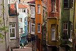 Istanbul, Turkey, Fener neighborhood, steep street scene,