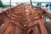 Nungwi, Zanzibar, Tanzania.  Dhow Construction, Boat Building.  Interior ribs give strength and reinforcement to exterior planking.