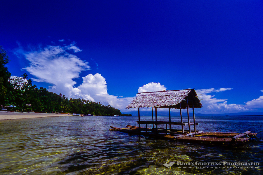 Indonesia, Sulawesi, Bunaken. A very rich coral ecosystem covers most of Bunaken National Park, with about 90 species of fish. A sort of shelter made from bamboo.
