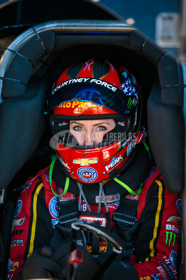 Jun 1, 2018; Joliet, IL, USA; NHRA funny car driver Courtney Force during qualifying for the Route 66 Nationals at Route 66 Raceway. Mandatory Credit: Mark J. Rebilas-USA TODAY Sports