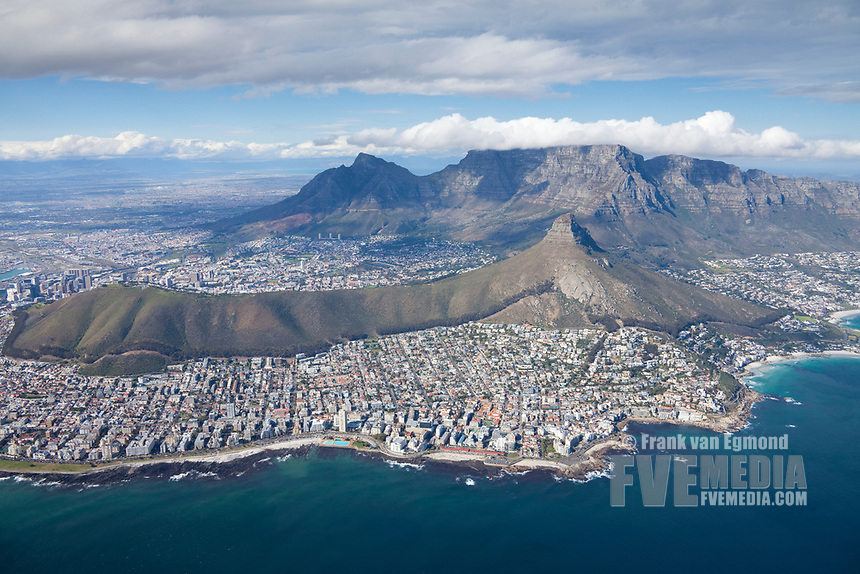 Cape Town Aerial showing  Signal Hill and Lion's Head (right). South Africa.
