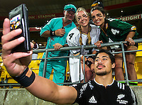 Ben Lam with fans on Day Two during the 2016 HSBC Wellington Sevens at Westpac Stadium, Wellington, New Zealand on Sunday, 31 January 2016. Photo: Joseph Johnson / lintottphoto.co.nz
