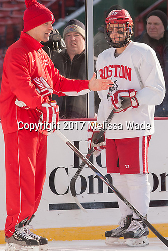 The Boston University Terriers practiced on the rink at Fenway Park on Friday, January 6, 2017.