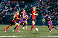 Rochester, NY - Saturday June 11, 2016: Orlando Pride forward Alex Morgan (13), Western New York Flash midfielder Michaela Hahn (2), Western New York Flash midfielder Samantha Mewis (5), Orlando Pride forward Jasmyne Spencer (23) during a regular season National Women's Soccer League (NWSL) match between the Western New York Flash and the Orlando Pride at Rochester Rhinos Stadium.