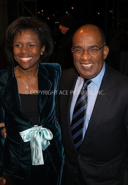 Weatherman Al Roker and his wife Deborah Roberts arrived at the A&E Television Network's 20th Anniversary party at the Manderine Oriental Hotel in a snowy New York City, January 27 2004. Please byline: AJ SOKALNER/NY Photo Press.   ..*PAY-PER-USE*      ....NY Photo Press:  ..phone (646) 267-6913;   ..e-mail: info@nyphotopress.com