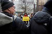 NEW YORK, NEW YORK - JANUARY 6: Protesters unite when Harvey Weinstein arrives at the Manhattan courthouse. On January 6, 2020 in New York City. Weinstein pleaded not guilty to five counts of rape and faces a possible life sentence in prison. (Photo by Pablo Monsalve / VIEWpress)
