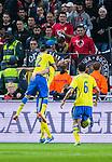 Solna 2014-10-09 Fotboll EM-kval , Sverige - Ryssland :  <br /> Sveriges Ola Toivonen har gjort 1-1 och gratuleras av Erkan Zengin och Nabil Bahoui<br /> (Photo: Kenta J&ouml;nsson) Keywords:  Sweden Sverige Friends Arena EM Kval EM-kval UEFA Euro European 2016 Qualifier Qualifiers Qualifying Group Grupp G Ryssland Russia jubel gl&auml;dje lycka glad happy