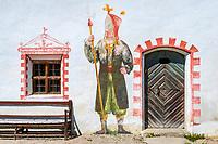 Austria, Tyrol, Kramsach: open-air museum Tyrolean Farmhouses - Lueftlmalerei (frescoes) at Falkner-Schnaitter farm   Oesterreich, Tirol, Wanderdorf Kramsach: Freilichtmuseum Tiroler Bauernhoefe - Lueftlmalerei am  Falkner-Schnaitter Hof