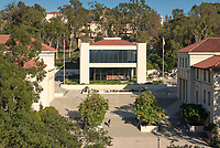 Occidental College's Arthur G. Coons Administrative Center (AGC) and Dumke Faculty Commons.<br /> (Photo by Marc Campos, Occidental College Photographer)