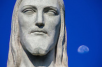 Christ the Redeemer face detail (Portuguese: Cristo Redentor), is a statue of Jesus Christ in Rio de Janeiro, Brazil and is located at Corcovado mountain in the Tijuca Forest National Park overlooking the city. Named one of the New Seven Wonders of the World in a list compiled by the Swiss-based The New Open World Corporation.