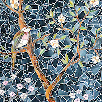 Chinoiserie, a hand-cut glass mosaic, shown in Emerald, Tourmaline, Labradorite, Opal, Tiger's Eye, Amber, Peridot, Champagne, Rose Quartz, and Pearl jewel glass with Marcasite Sea Glass™ is part of the Sea Glass™ Collection by Sara Baldwin for New Ravenna.