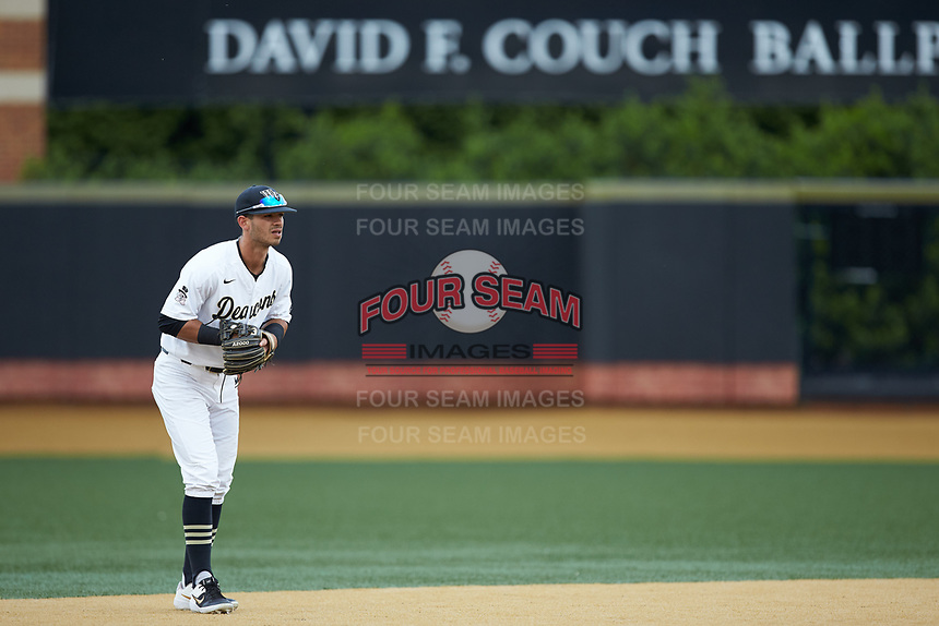 Wake Forest Demon Deacons shortstop Patrick Frick (5) on defense against the Davidson Wildcats at David F. Couch Ballpark on May 7, 2019 in  Winston-Salem, North Carolina. The Demon Deacons defeated the Wildcats 11-8. (Brian Westerholt/Four Seam Images)
