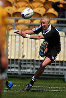 Kane Adams kicks for goal during the International rugby match between New Zealand Secondary Schools and Suncorp Australia Secondary Schools at Yarrows Stadium, New Plymouth, New Zealand on Friday, 10 October 2008. Photo: Dave Lintott / lintottphoto.co.nz