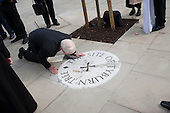 Restoration of the Tyburn Tree Plaque at the junction of Edgware Road and Marble Arch, London.