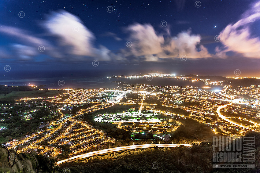 """An aerial view of Kane'ohe at night from Ha'iku Stairs (or """"Stairway to Heaven"""") hiking trail, Kane'ohe, Oahu"""