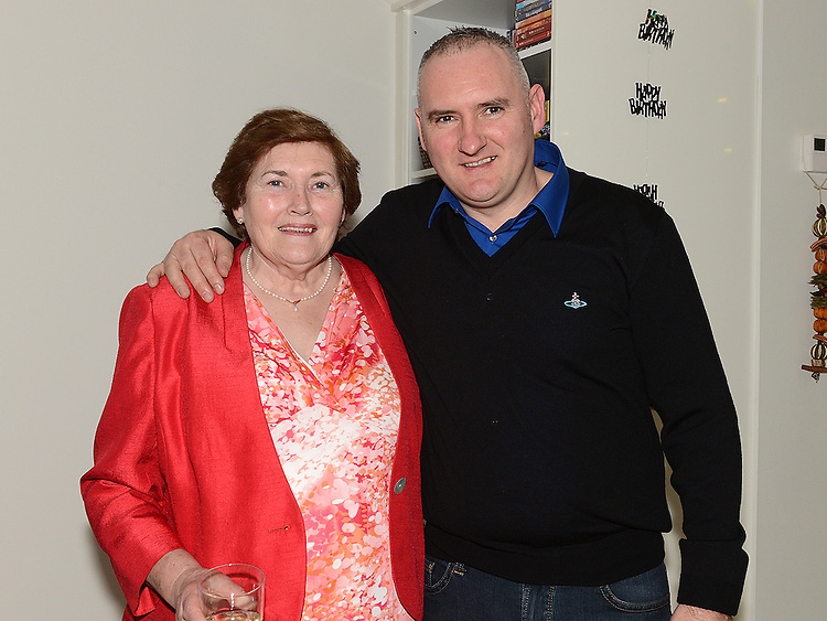 Timothy King celebrating his 40th birthday with his mother Rose King at his home in Mullinstown Ardee. Photo:Colin Bell/pressphotos.ie