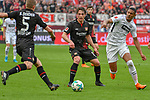 14.04.2018, BayArena, Leverkusen , GER, 1.FBL., Bayer 04 Leverkusen vs. Eintracht Frankfurt<br /> im Bild / picture shows: <br /> Sven Bender (Leverkusen #5), <br /> Julian Baumgartlinger (Leverkusen #15), <br /> Sebastien Haller (Frankfurt #9),  <br /> <br /> <br /> Foto &copy; nordphoto / Meuter