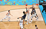 SAN ANTONIO, TX - APRIL 02:  Donte DiVincenzo #10 of the Villanova Wildcats looks for the rebound against Jordan Poole #2 of the Michigan Wolverines in the 2018 NCAA Men's Final Four National Championship game at the Alamodome on April 2, 2018 in San Antonio, Texas.  (Photo by Josh Duplechian/NCAA Photos via Getty Images)