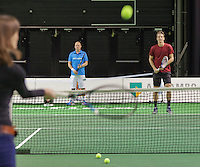 11-02-14, Netherlands,Rotterdam,Ahoy, ABNAMROWTT,Thomas Berdych (CZE) plays with kids on sportssplaza<br /> Photo:Tennisimages/Henk Koster