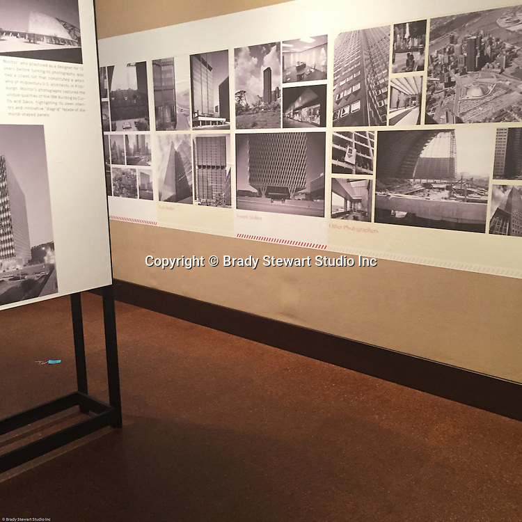 Pittsburgh PA:  View of the architectural view area of the Imaging for Modern exhibition inside the Carnegie Museum of Art - 2015.  Photographs from the Brady Stewart Archives were used in the exhibition about Pittsburgh's architectural evolution 1945-1970.<br /> The images were selected by the consultant's Over Under due to the quality and the unique city views.  From 1945 to 1970 Brady Stewart Studio was the largest commercial photography studio in western Pennsylvania.<br /> The Exhibition runs from September 1915 thru May 2016.  Press release can be found at the following internet address; http://press.cmoa.org/2015/05/27/hac-lab-pittsburgh/.