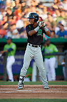 Dayton Dragons Miles Gordon (5) during a Midwest League game against the Kane County Cougars on July 20, 2019 at Northwestern Medicine Field in Geneva, Illinois.  Dayton defeated Kane County 1-0.  (Mike Janes/Four Seam Images)