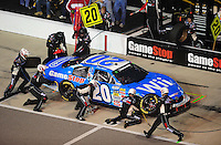 May 1, 2009; Richmond, VA, USA; NASCAR Nationwide Series driver Joey Logano pits during the Lipton Tea 250 at the Richmond International Raceway. Mandatory Credit: Mark J. Rebilas-