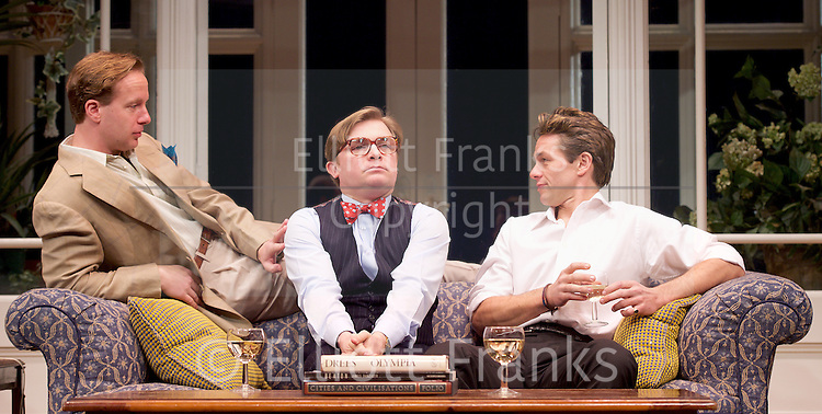 My Night with Reg <br /> by Kevin Elyot <br /> at the Apollo Theatre, London, Great Britain <br /> Press photocall<br /> 20th January 2015 <br /> Geoffrey Streatfeild as Daniel <br /> Jonathan Broadbent as Guy <br /> Julian Ovenden as John <br /> Photograph by Elliott Franks <br /> Image licensed to Elliott Franks Photography Services
